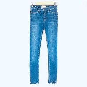 Free People High-Rise Raw Hem Skinny Jeans 26
